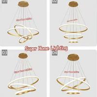 Lampu Gantung Minimalis Modern RUANG TAMU 3 Ring LED 5180768 - BLACK IRON