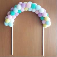 cake topper pelangi pompom rainbow arch/ cake topper pompom rainbow
