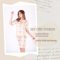 Setelan Pendek- Kaos Batik-Pelangi-Tie Die