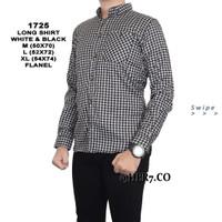 Baju Kemeja Flanel Pria Kemeja Kantoran Lengan Panjang - Putih, M
