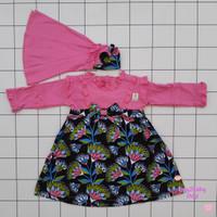 Baju lebaran bayi set gamis pnjang dgn jilbab motif batik bunga VINATA