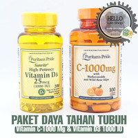 Paket Puritan Pride Vit C 1000mg (100tab) + D3 1000IU (200ta