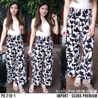 Celana panjang kulot wanita import motif bunga batik zebra dw