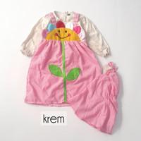 Baju Muslim Gamis Anak Perempuan Bunga Kotak-Kotak 1-2 Tahun