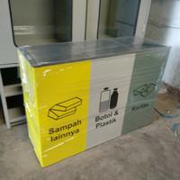 tong / tempat sampah stainless kotak 3 in 1