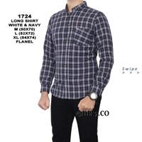 Baju Kemeja Flanel Pria Kemeja Santai Pria Kemeja Kantoran - Biru, M