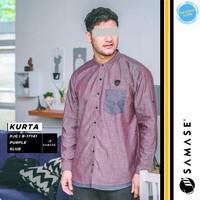 Baju Koko Kemko Panjang Muslim Pria Samase V035 - NAVY