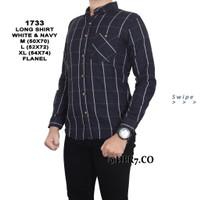 Baju Kemeja Flanel Lengan Panjang Pria Kemeja Kantoran - Hitam, M