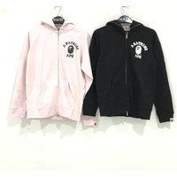 Bape Crystal Stone College Pink Zip Hoodie 100% Original - Merah Muda, XS