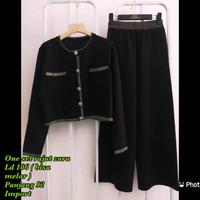 Setelan Cewek Baju & Celana Rajut Zara Black Import Premium 799