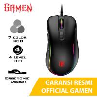 Mouse Gaming Gamen GM1000 Black RGB 7 Warna Game Hitam Gamming