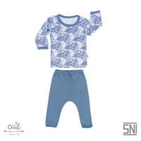 CUIT Setelan Monstera Tangan Panjang Celana Panjang Kojo Series - Blue Graphite, S (3-6 bulan)