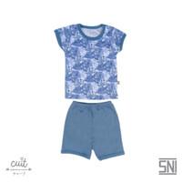 CUIT Setelan Monstera Tangan Pendek Celana Pendek Kojo Series - Blue Graphite, S (3-6 bulan)