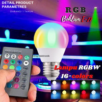 Lampu Bohlam LED RGB RGBW 16 Warna Bulb E27 Dimmable 3W 5W 10W 15W