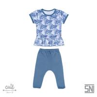 Cuit Setelan Ruffle Mix Anak Tangan Pendek CelanaPanjang Monstera Kojo - Blue Graphite, S (3-6 bulan)