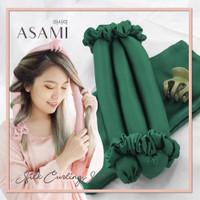 ASAMI Silk Heatless Curling Set Ribbon Wrap warna EMERALD GREEN