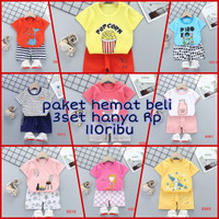 paket 3set baju main anak import seri S