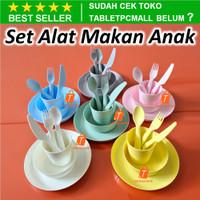 Set Alat Makan Anak 6pcs Sendok Garpu Pisau Cangkir Mangkuk Piring