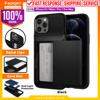 Case iPhone 12 Pro Max Mini Spigen Slim Armor Wallet Card Slot Casing - 12 / 12 Pro, Black