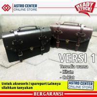 Tas Motor Kawasaki W175 Kulit ASLI kode 175 Side Bag - Versi 1