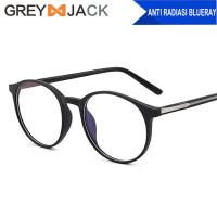 Grey Jack Kacamata Frame antiradiasi blueray bulat unisex TR90 8243