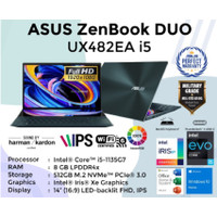 Asus Zenbook Pro Duo UX482EA i5 1135G 14 FHD 8GB 512 SSD W10 OFFICE