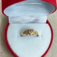 cincin anak mata putih ukir 1/2 gram emas muda