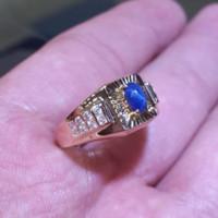 Cincin Laki Pria King Blue Safir Kuning Gold Pabrik Men Ring Emas