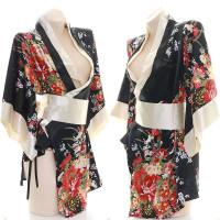 Kimono Wanita Baju Tidur Jepang Yukata Sakura Satin Piyama A398