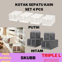 Kotak Sepatu Sandal Lipat Kain Set 4 Pcs Ikea - Hitam Dalatoko