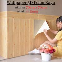 Wallpaper Stiker Dinding 3D Foam Serat Kayu 70 x 70cm