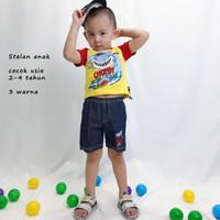 Setelan Baju Anak Laki Laki Motif Hiu Baby Shark Bahan Katun Kaos Anak - Pembelian 1 PCS