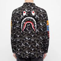 Bape Digital Camo Shark Military Relaxed Shirt 100% Original - S