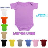 Baju Bayi Jumper Bodysuits Katun polos jumpsuit baby newborn - Ungu, S
