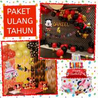 Set Ulang Tahun Anak Mickey Minnie Mouse Paket Dekorasi Happy Birthday