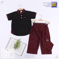 Setelan SARCELKO Baju Koko Anak HooflaKids Baju Lebaran Celana Sarung - NKH03, XS