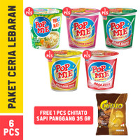 Pop Mie Paket Ceria Lebaran - FREE 1 Pc Chitato Rasa Sapi Panggang 35g