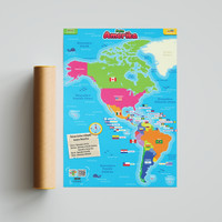 Poster SECIL Peta Benua Amerika PREMIUM