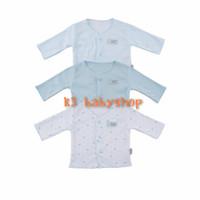 NB Fluffy Baju Panjang Neci Biru Blue piyama bayi baju kancing depan