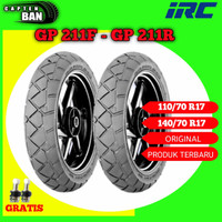 Sepasang IRC GP 211F-211R 110/70-140/70 Ring 17 Tubeless // Ban Motor