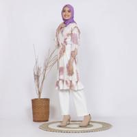 Baju Tunik Muslim Wanita Batik Warna Alam si Putri Motif Ecoprint