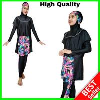 Setelan Renang Muslimah Baju Celana Jibab Wanita Dewasa Muslim JUMBO - Motif Daun, M