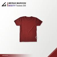 BIG SIZE - Kaos Polos Pria Misty/Twotone Cotton Combed 30s - Merah Maroon, XXL