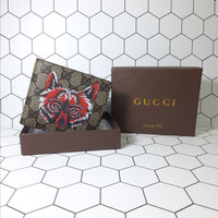 Dompet Pendek Kulit GUCCI Import - Coffe Red Wolf