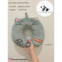 Neck Pillow Cushion Karakter Cat,Dog,Teddy Bantal Leher Travel Office