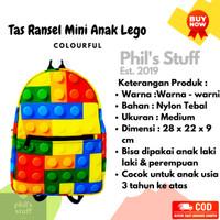 Tas Ransel Anak Motif Lego Full Colour Warna-Warni