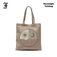 Totebag Moonlight Tote Bag Wanita Pria Bahan Kanvas Kantong Hampers