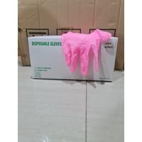 Sarung Tangan Latex Warna Pink Karet Shamrock Non Powder 1Box 50pcs - PINK, @100pcs M