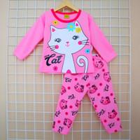 Piyama Setelan Baju Tidur Anak Perempuan Motif Kucing Usia 2 - 9 Tahun