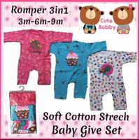 Romper Bobby Jumper Sleepsuit Baju Bayi 3in1 Cotton 100% Berkualitas - 3-6 Bulan